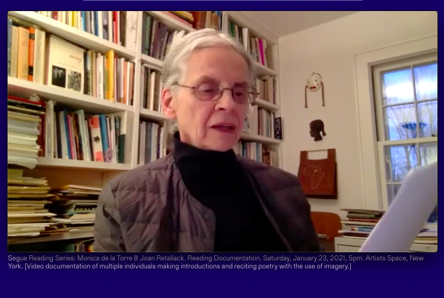 Joan Retallack reads from BOSCH'D in a room in front of a bookcase for Segue Series on Zoom